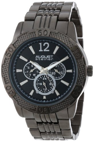 August Steiner Men's Quartz Multi-Function Sports Watch with Black Dial Analogue Display and Black Alloy Bracelet AS8058BK
