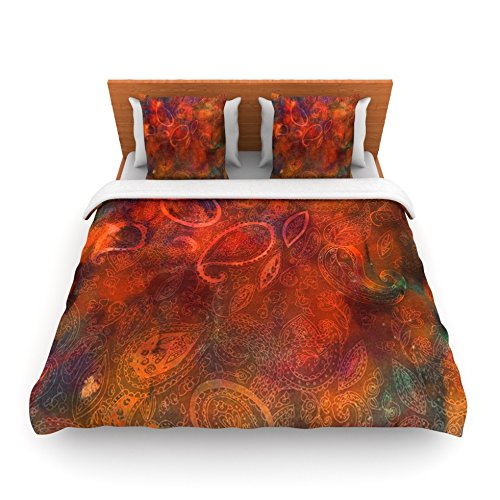 "Kess Inhouse Nikki Strange ""Tie Dye Paisley"" Orange Red King Fleece Duvet Cover, 104 By 88-Inch front-938809"