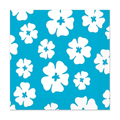 Beistle Hibiscus Luncheon Napkins, Turquoise/White