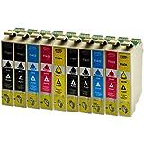 10 Druckerpatronen für Epson T1631XL 1632XL 1633XL 1634XL BK,C,M,Y - 4xSchwarz je 18ml,2x je C,M,Y 18ml, kompatibel