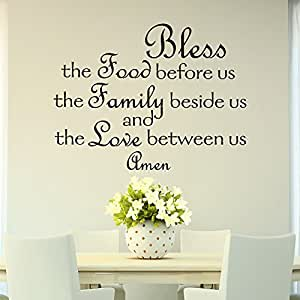 Bless the food before us wall decal quote prayer stickers for Dining room wall art amazon