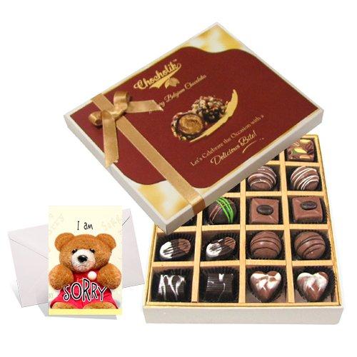 Fascinating Treat Of Dark And Milk Chocolate Box With Sorry Card - Chocholik Belgium Chocolates