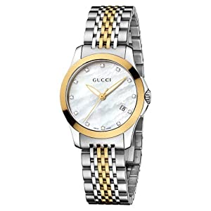 Gucci G-Timeless Collection Women's Quartz Watch with Mother of Pearl Dial Analogue Display and Two Tone Stainless Steel Gold Plated Bracelet YA126513