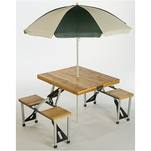 Picnic Plus Folding Picnic Table with Umbrella - Natural One Size