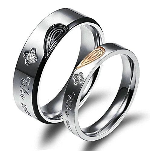 Daesar Edelstahl Trauringe Für Herren Damen Herz Puzzle Fingerabdruck Liebe Prongs mit CZ Intarsien Ring