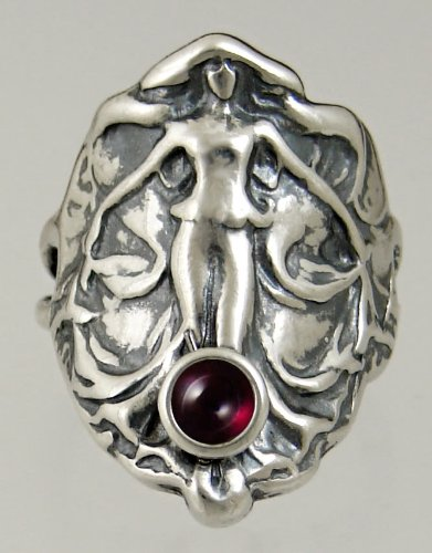 Sterling Silver Lady of the Realm Ring Featuring a Lovely Garnet Gemstone