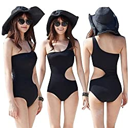 Forever Sexy A Symmetrical Black One Shoulder Side Cutout Padded One Piece Monokini Swimwear
