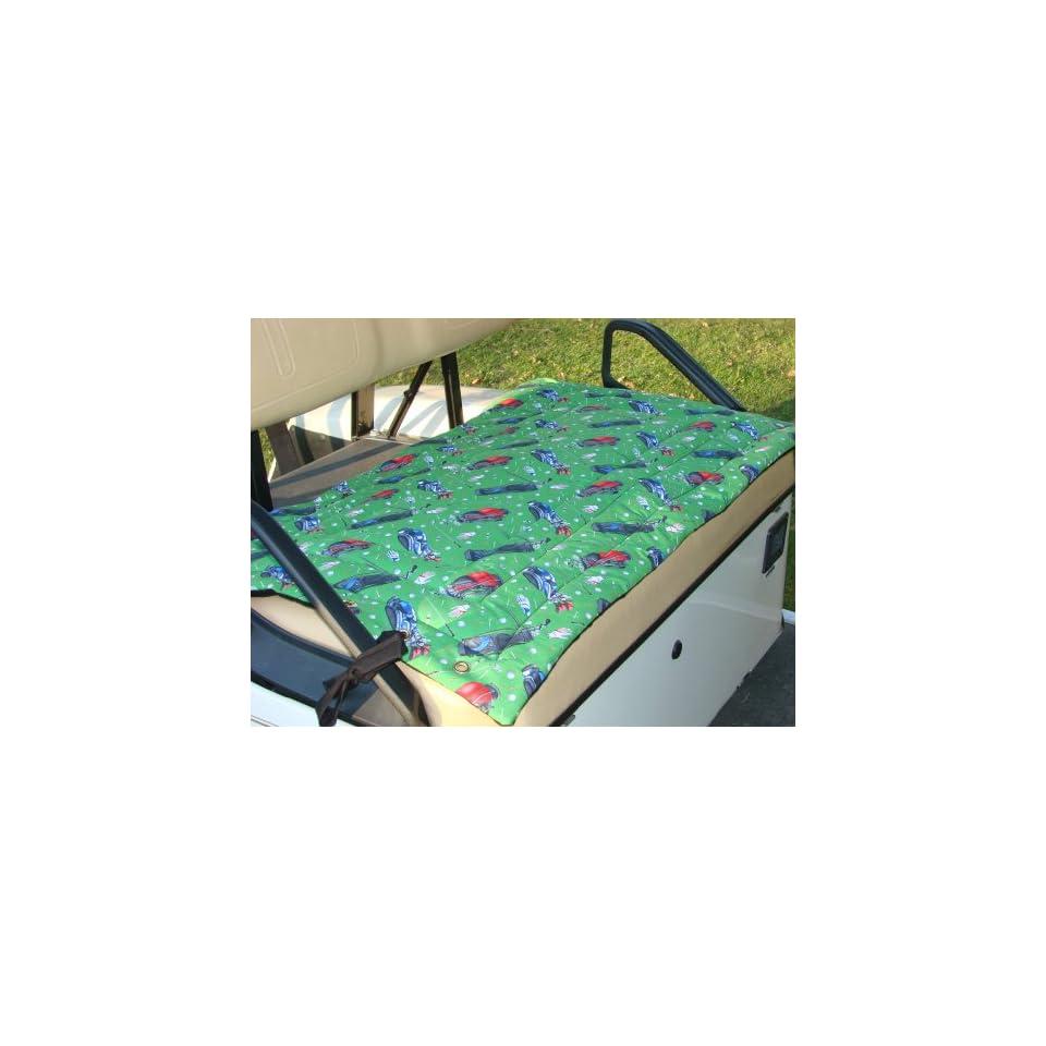 Golf Cart Seat Cover, Green Golf Bag Print Kitchen
