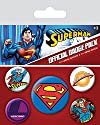 Superman - 5 Piece Button / Pin / Badge Set (Logos)