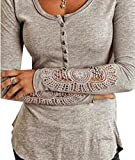 Fashion Lady Button Front Long Sleeve Cotton T Shirt Blouse Top Grey