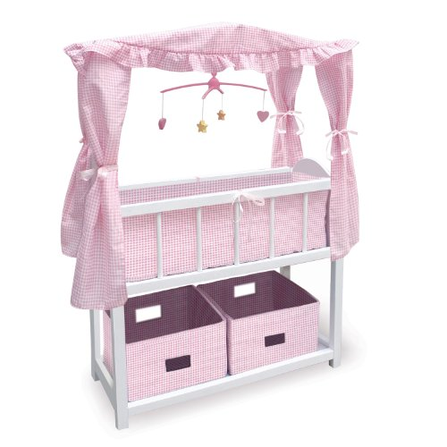 Badger Basket Canopy Doll Crib With Baskets Bedding And Mobile - Pink/White