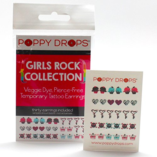 Girls Rock Collection - Veggie-Based Temporary Tattoo Earrings. Safe, Non-Toxic Ear Piercing Alternative.