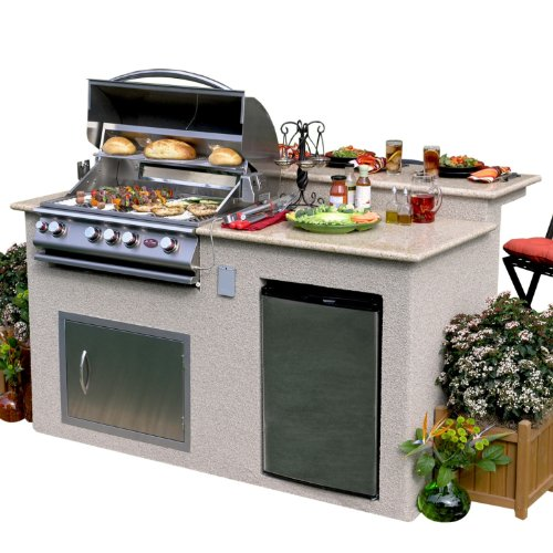 Kitchen Island Refrigerator: Outdoor Island Kitchen Grill 4-Burner Barbecue Grill W