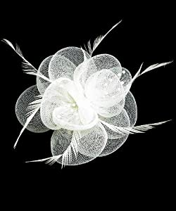 Haarschmuck Kopfschmuck Oder Brosche Netz Perlen feinen Federn Weiß