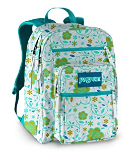 JanSport Classic Big Student Backpack, White/Calypso Blue Tree Flower