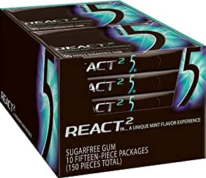 Five Sugar Free Gum, React 2 Mint, 15 Piece Packages (Pack of 10)