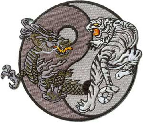 Application Dragon and Tiger in B & W Patch