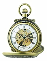 Charles-Hubert, Paris 3868-G Classic Collection Gold-Plated Antiqued Finish Double Hunter Case Mechanical Pocket Watch