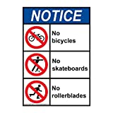 ComplianceSigns Vertical Aluminum ANSI NOTICE No Bicycles No Skateboards No Rollerblades Sign, 14 X 10 in. with English Text and Symbol, White