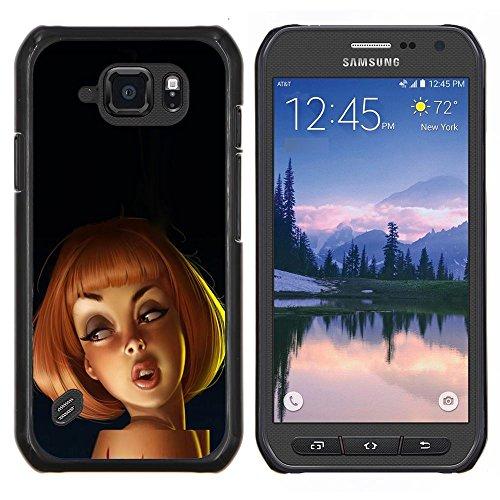 Redhead Dibujo 3D Mujer de la historieta de los niños - Aluminum Metal & plastica dura Phone caso - nero - Samsung Galaxy S6 active / SM-G890 (NOT S6)