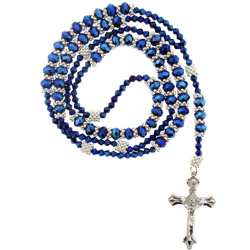 Blue Rhinestone Crystal Rosary With Faceted Rondell Beads In 8x6mm, Bicone Beads And Metal Spacers -32
