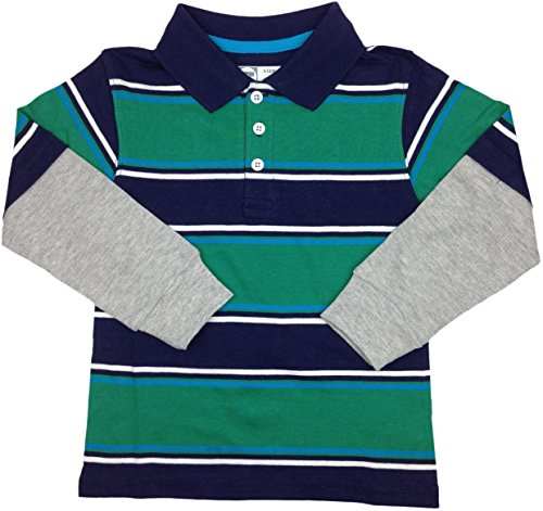 French Toast Boys Long Sleeve Wide Stripe Polo Shirt - La3080 - Navy, 6 front-1076223