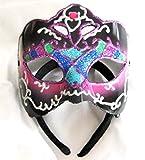 Glitter Mardi Gras Eye Mask Blue Black Fuschia Mardi Gras Costume Accessory