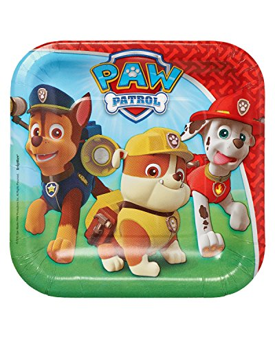 "American Greetings PAW Patrol 7"" Square Plate, Party Supplies (8 Count)"