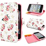 Leathlux E49 Blume Wallet PU Leder Tasche Schutzh�lle Skin Case Cover H�lle Schale Etui f�r Apple iphone 4 4S