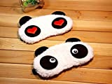 Set 0f 2 ~ Super Soft & Comfortable For Proper Sleep ~ Dreamy Eyes + Heart Panda Sleeping Eye Mask ~ Nap Eye Shade Cartoon Blindfold Eyes Cover Sleeping Travel Rest Patch Blinder Relax , Complete black-out Design, snooze , slumber , hibernate