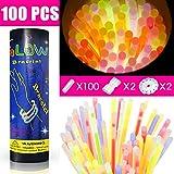 Aodoor 100 Barras luminosas, Tubos luminosos de neón, Juego de pulseras, gafas y adornos para el pelo fosforescentes, 5 colores