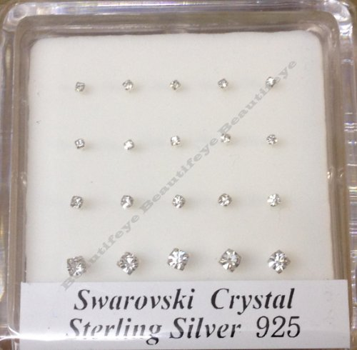 Pack Of 20 Sterling Silver Claw Set Nose Wires Nose Studs Assorted Sizes Swarowsky Crystal, Clear Colour (152)