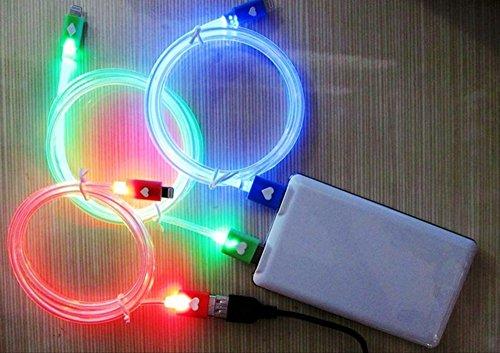 アイフォン6 アイフォン5 充電器 ライトニング 充電ケーブル 光る LED Lightning USB 全3色 iPhone6 iPhone5 ipad ipadmini (ブルー)