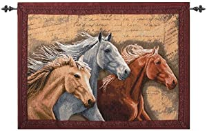 "Three Horses Equestrian Southwest Inspired Tapestry Wall Hanging 26"" x 36"""