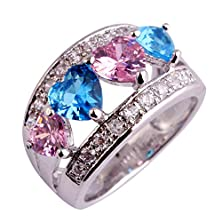 buy Psiroy 925 Sterling Silver Stunning Created Gorgeous Women'S 5Mm*5Mm Heart Cut Pink & Blue Topaz Filled Ring