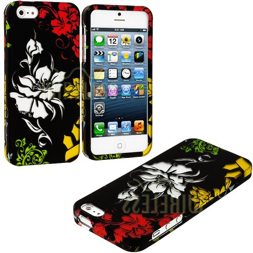 $$  myLife (TM) Colorful Abstract Flowers Series (2 Piece Snap On) Hardshell Plates Case for the iPhone 5/5S (5G) 5th Generation Touch Phone (Clip Fitted Front and Back Solid Cover Case + Rubberized Tough Armor Skin + Lifetime Warranty + Sealed Inside myLife Authorized Packaging)