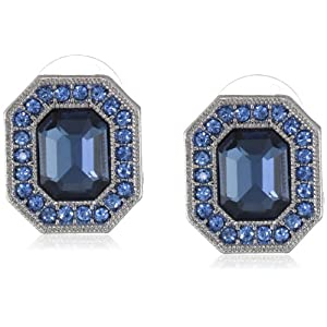 Signature 1928 Silver-Tone Sapphire Blue Octagon Button Stud Earrings