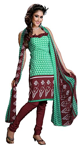 Atisundar Atisundar Charismatic Light Green And Brown Printed Unstitched Suit- 5666_46_9009 (Multicolor)