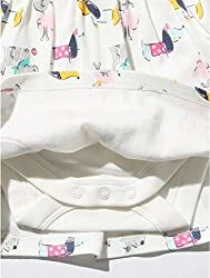 M&Co Baby Girl Long Sleeve Button Front Sausage Dog Print Bow Applique Envelope Neck Dress Cream 9/12 Mnths from M&Co