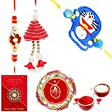 Gomati Ethnic Ethnic Meenakari Pooja Thali Raksha Bandhan Gift Rakhi For Brother With Gift Combo And Rakhi For Bhaiya Bhabhi Combo Free Shipping+Roli+Chawal+Greeting Card !!-1Bbkts971