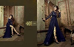 JJR Store Designer black Georgette Embroidered Dress material