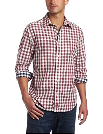 Canterbury of New Zealand Men's Brian Long Sleeve Button-Up Shirt, Burgundy, XS US