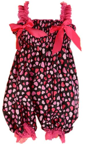 Andi Rose Baby Toddlers Floral Printed Ruffle Romper Baby Girl Infant Size M (Size: M For Old, Heart) front-970211