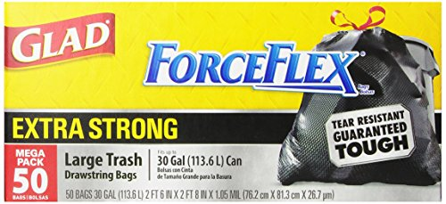 Glad Forceflex Extra Strong Outdoor Drawstring Large Trash Bags, 30 Gallon, 50 Count front-21987