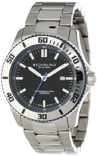 Stuhrling Original Men'S 714.03 Aquadiver Regatta Bermuda Swiss Quartz Professional Diver Blue Accent Stainless Steel Bracelet Watch