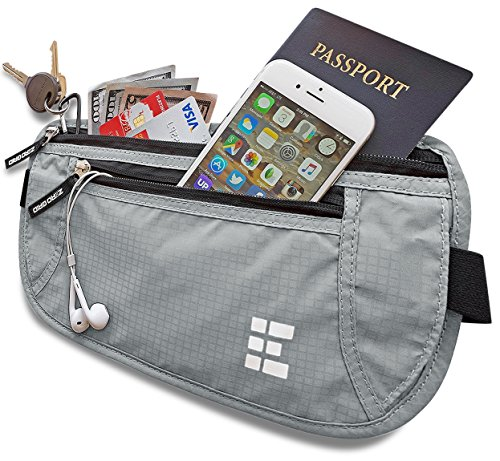 Zero Grid Money Belt w/RFID Blocking - Concealed Travel Wallet & Passport Holder (Ash)