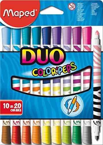 Maped Duo Color Peps Washable Felt Tip Markers, 10-Piece Set, Assorted Colors (847010)