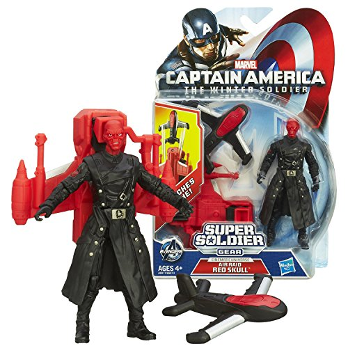 "Hasbro Year 2013 Marvel ""Captain America - The Winter Soldier"" Super Soldier Gear Series 4 Inch Tall Action Figure - Air Raid RED SKULL with Drone Launcher and 1 Drone"