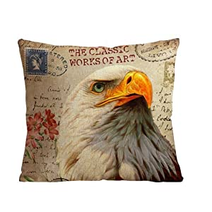 ilkin Decorative eagle pattern custom personalized pillow cases 18 x 18 Inch Linen Cloth Throw Pillow Case Cushion Cover