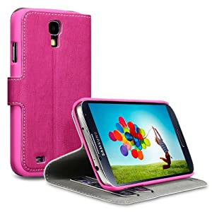SAMSUNG GALAXY S4 HANDY DELUXE LEDER TASCHE CASE HÜLLE IN PINK, COVERT RETAIL VERPACKUNG
